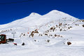 Ski resort on mount elbrus in winter Stock Image