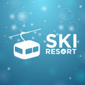 Ski resort ropeway on blue background Stock Photos
