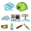 Ski resort set icons in cartoon style. Big collection of ski resort vector symbol stock illustration Royalty Free Stock Photo