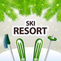 Ski resort skiing and poles on snow background Stock Photos