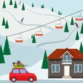 Ski resort snow mountain landscape, skiers on slopes, ski lifts, a house, a car with the ski equipment pulls up to the resort. Vec