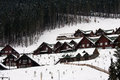 Ski resort wooden cottages in bukovel is the most popular in ukraine Stock Photos