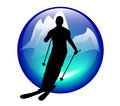 Ski and slalom icon Stock Photos