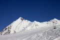 Ski slope and blue clear sky in nice day caucasus mountains georgia resort gudauri Royalty Free Stock Photography