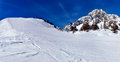 Ski slope in courmayeur panorama with a and mont blanc italy Royalty Free Stock Images