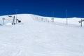 Ski slope in Khibiny against the blue sky