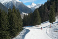 Ski slope skiing resort alpes valley montafon Royalty Free Stock Photography
