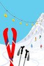Ski slope vertical vector illustration of Royalty Free Stock Photo