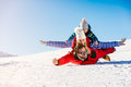 Ski, snow sun and fun - happy family on ski holiday Royalty Free Stock Photo
