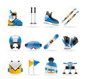 Ski and snowboard equipment icons Stock Images
