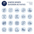 Ski, snowboard, skates, tubing, ice kiting, climbing and other winter sport line icons.