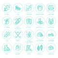 Ski, snowboard, skates, tubing, ice kiting, climbing and other winter sport line icons. Outdoor activity thin linear Royalty Free Stock Photo
