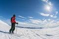 Ski touring on sunny day Royalty Free Stock Photo