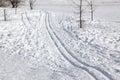 Ski-track in the snow Royalty Free Stock Image