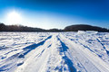 Ski track at snow field in cold winter day Royalty Free Stock Photo