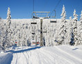 Ski track under empty chair lift Royalty Free Stock Image