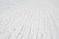 Ski tracks a lot of pattern on white snow surface Stock Images