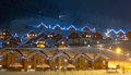 Ski village at night Stock Photos