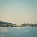 Skiathos airport view of runway at on final apprach to land Royalty Free Stock Photography