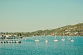 Skiathos harbour at greece in vintage tones Royalty Free Stock Image