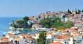 Skiathos town greece old port at Royalty Free Stock Photos