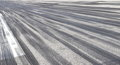 Skid marks on asphalt aeroplane tires runway Stock Image