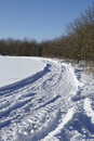 Skid marks into a snowscape Royalty Free Stock Photo