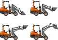 Skid steer loaders. Heavy construction machines. Vector illustration Royalty Free Stock Photo