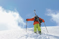 Skier climbing a snowy mountain see my other works in portfolio Royalty Free Stock Photography