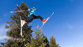 Skier in a jump in front of a tree Royalty Free Stock Images