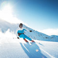 Skier in mountains Royalty Free Stock Photos