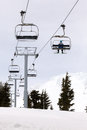 Skier Riding Ski Lifts Up Mount Hood Royalty Free Stock Photo