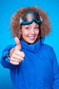 Skier showing thumbs up Stock Images