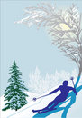 Skier silhouette in snow forest Stock Images