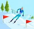 Skier skiing on downhill cartoon style in vector Stock Photos