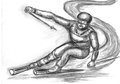 Skier skiing illustration on paper Stock Photos