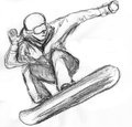 Skier skiing illustration on paper Royalty Free Stock Photo