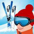 Skier on the slope Royalty Free Stock Photography