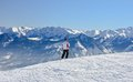 Skier on the slope ski resort austria zell am see Stock Image