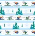 Skier white background. Mice skiers and forest. Winter seamless pattern.