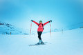 Skierl extreme winter sport skier on snow hill solden austria Royalty Free Stock Photography