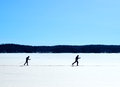 Skiers nordic skiing on frozen lake winter trail Royalty Free Stock Photo