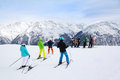 Skiers prepare for slope at winter Stock Images