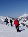 Skiers prepare to descend the piste avoriaz france mar during annual winter school holiday on mar in avoriaz france Royalty Free Stock Photography