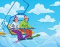 Happy girls on a snowy mountain ski resort