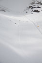 Skiers on the ski slopes of the hill bettaforca ayas valley Stock Photo