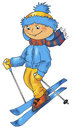 Skiing boy winter illustration for children outdoor activity Royalty Free Stock Photography