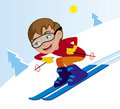 Skiing downhill in winter Royalty Free Stock Photo