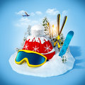 Skiing equipment on the snowdrift at blue background winter holidays Royalty Free Stock Image