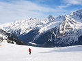 Skiing in French Alps Royalty Free Stock Photos